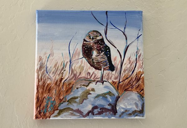 Finished painting of a burrowing owl