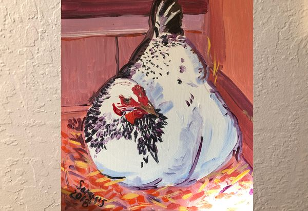 Hen painting in shades of orange and purple