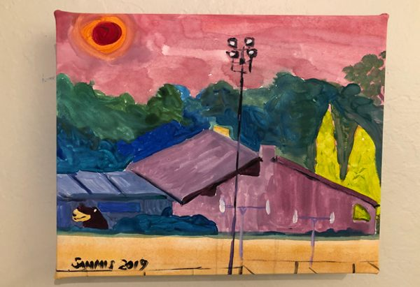 Climate Change 2 painting showing the Sun Gallery at a smoky sunset