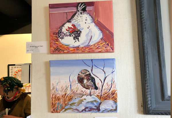 Owl and hen paintings