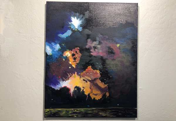 Acrylic WIP of fireworks over the Columbia river.