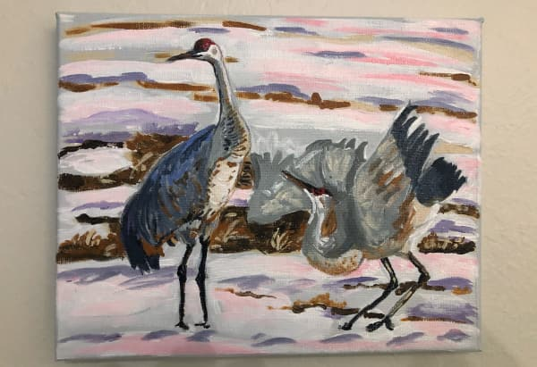 Sandhill cranes in snow - wip
