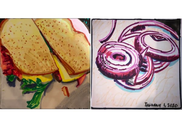 Left: Sandwich from Dec 31. Right: Red onions from Jan 01.