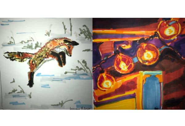 Left: a fox leaping from Jan 04. Right: A string of lights from Jan 05